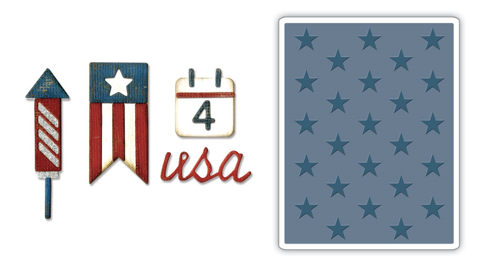 Tim Holtz Sizzix AMERICANA Side-Order Thinlits and Embossing Folder 662712 zoom image