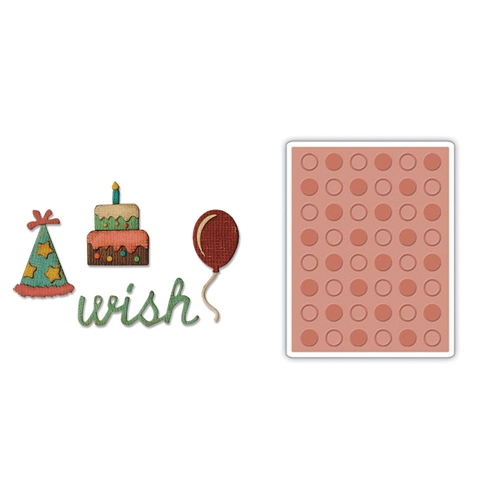 Tim Holtz Sizzix BIRTHDAY Side-Order Thinlits and Embossing Folder 662703 Preview Image