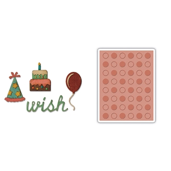Tim Holtz Sizzix BIRTHDAY Side-Order Thinlits and Embossing Folder 662703
