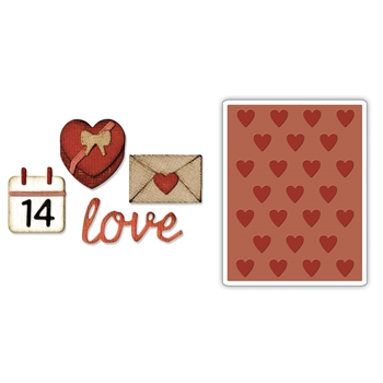Tim Holtz Sizzix VALENTINE Side-Order Thinlits and Embossing Folder 662710