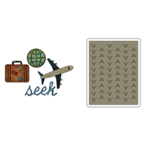 Tim Holtz Sizzix TRAVEL Side-Order Thinlits and Embossing Folder 662714 Preview Image