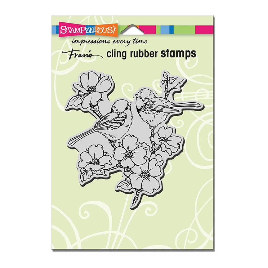 Stampendous Cling Stamp DOGWOOD BIRDS Rubber UM crw196 zoom image
