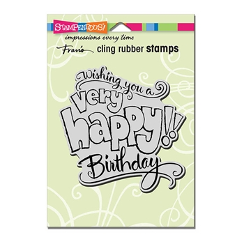 Stampendous Cling Stamp GREAT BIG HAPPY Rubber UM crw199