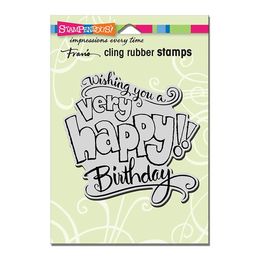 Stampendous Cling Stamp GREAT BIG HAPPY Rubber UM crw199 zoom image