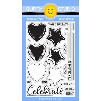 Sunny Studio BOLD BALLOONS Clear Stamp Set SSCL-185