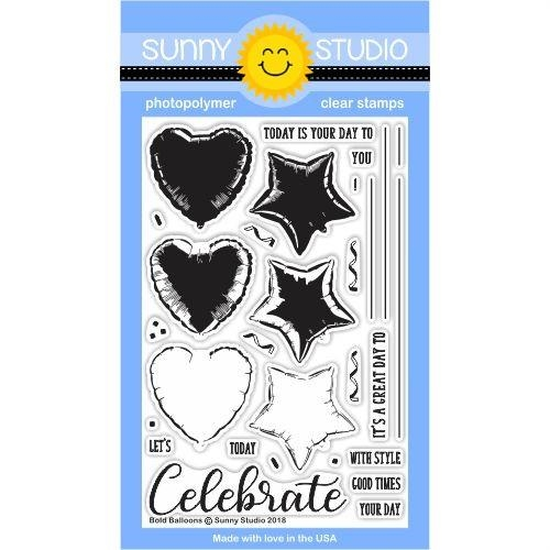 Sunny Studio BOLD BALLOONS Clear Stamp Set SSCL-185 zoom image