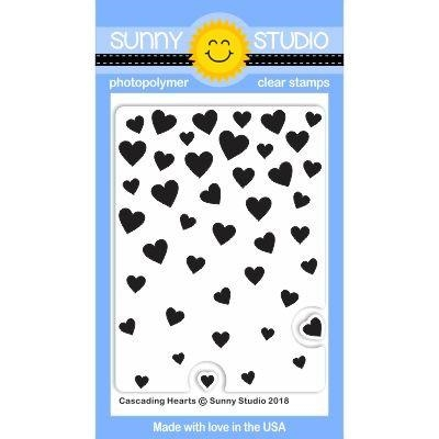 Sunny Studio CASCADING HEARTS Clear Stamp Set SSCL-188 zoom image