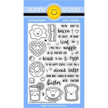 Sunny Studio BREAKFAST PUNS Clear Stamp Set SSCL-181