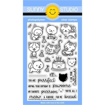 Sunny Studio PURRFECT BIRTHDAY Clear Stamp Set SSCL-182