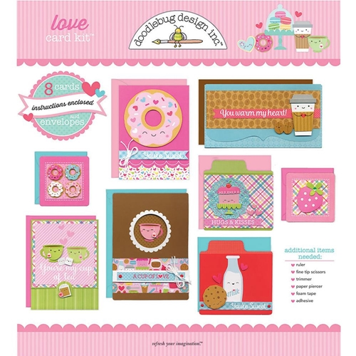 Doodlebug LOVE DESIGNER CARD KIT Eight Cards and Envelopes 6014 Preview Image
