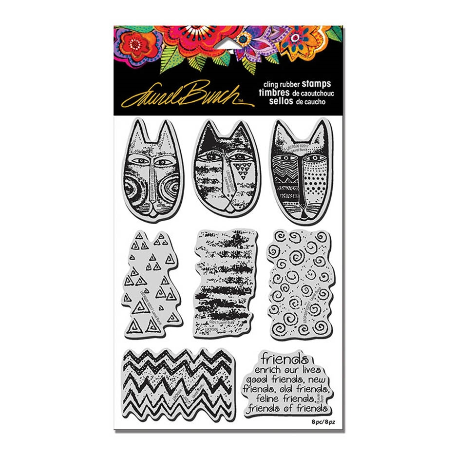 Stampendous Cling Stamp TRIBAL CATS with Stencil Rubber UM Laurel Burch lbcrs06 zoom image
