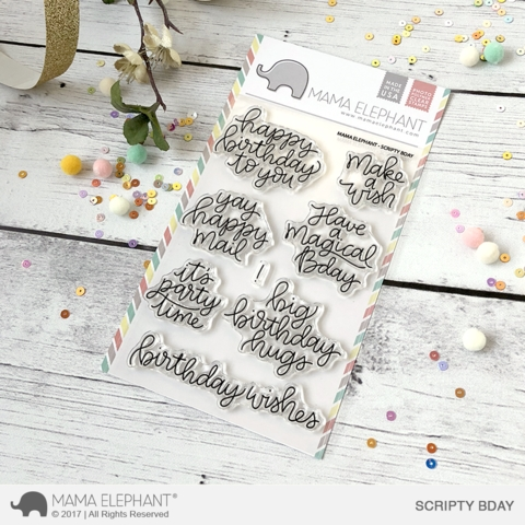 Mama Elephant Clear Stamps SCRIPTY BDAY  Preview Image