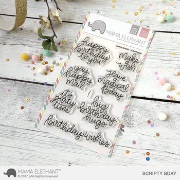 Mama Elephant Clear Stamps SCRIPTY BDAY