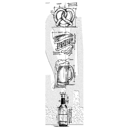 Tim Holtz Mini Blueprints Strip BEER Cling Rubber Stamps THMB029 Preview Image