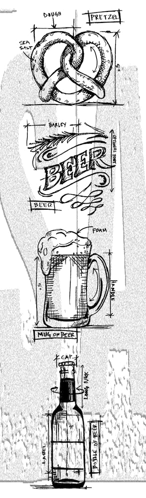 Tim Holtz Mini Blueprints Strip BEER Cling Rubber Stamps THMB029 zoom image