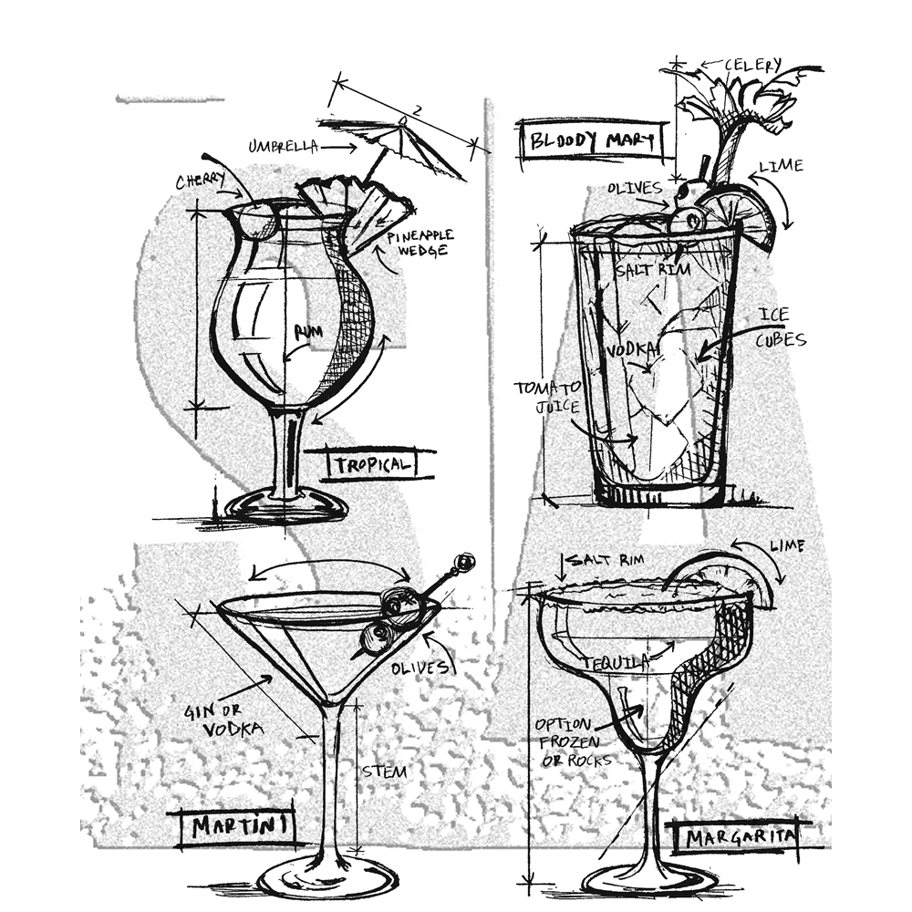 Tim Holtz Cocktails Blueprints Cling Stamp Set