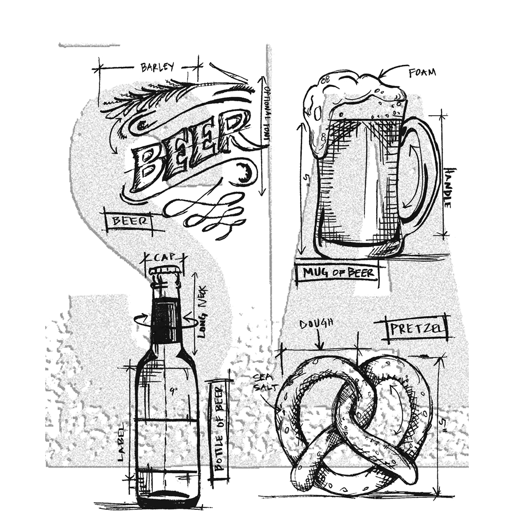 Tim Holtz Cling Rubber Stamps BEER BLUEPRINT CMS334 zoom image