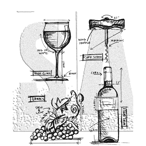 Tim Holtz Cling Rubber Stamps WINE BLUEPRINTS CMS333 Preview Image