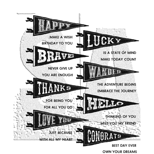 Tim Holtz Cling Rubber Stamps PENNANTS CMS330* Preview Image
