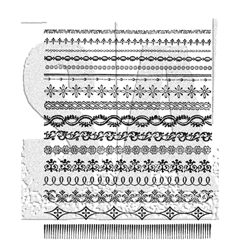 Tim Holtz Cling Rubber Stamps 2018 ORNATE TRIMS CMS326
