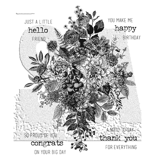 Tim Holtz Cling Rubber Stamps GLORIOUS BOUQUET WITH GRID BLOCK CMS325 Preview Image