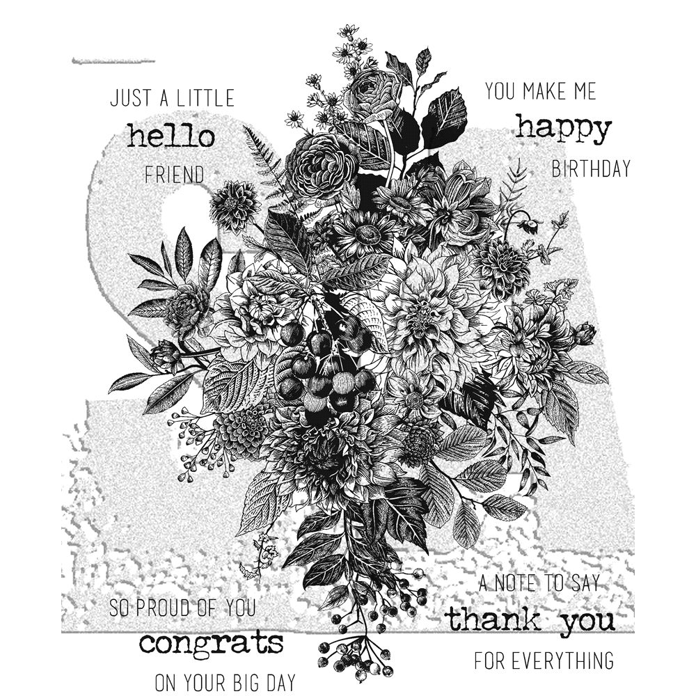 Tim Holtz Cling Rubber Stamps GLORIOUS BOUQUET WITH GRID BLOCK CMS325 zoom image