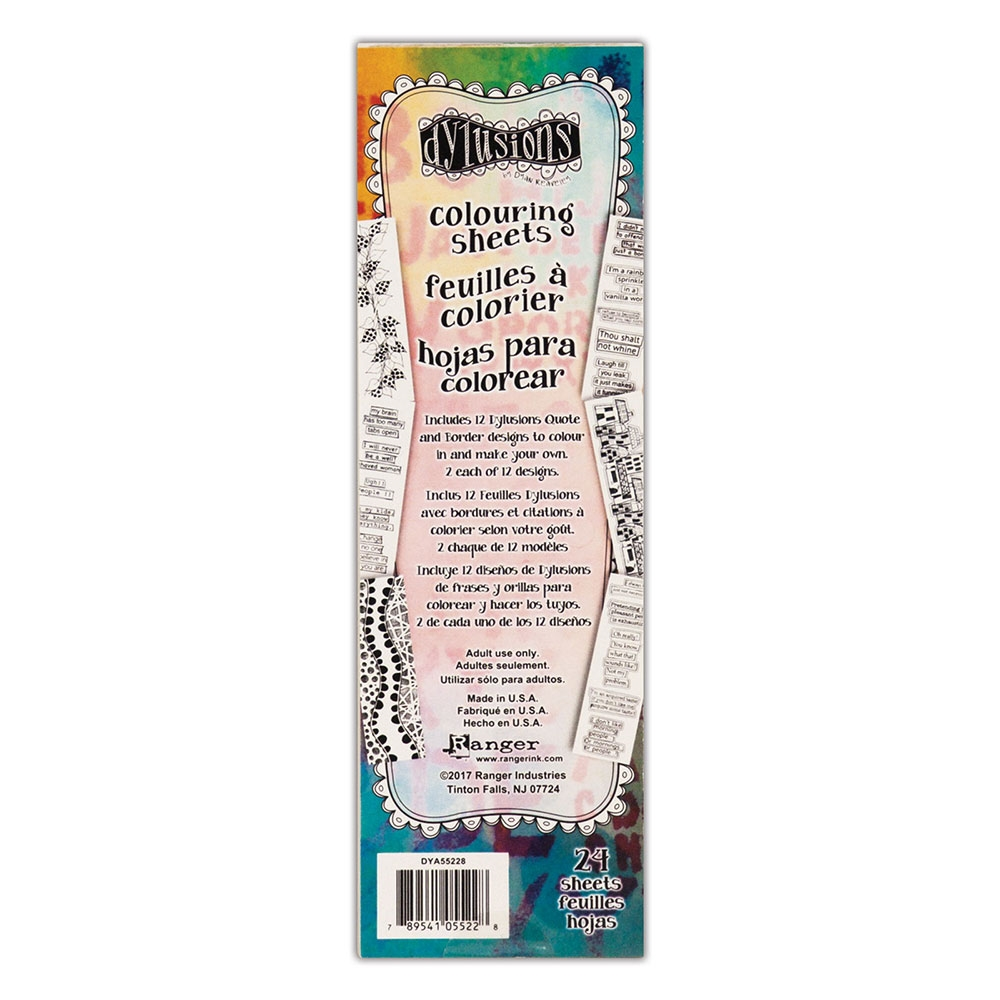 Ranger Dylusions BORDERS & QUOTES COLOURING SHEETS dya55228 zoom image
