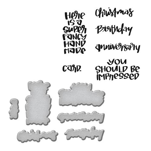 SDS-073 Spellbinders FANCY by Stephanie Low Cling Stamp and Die Set* Preview Image