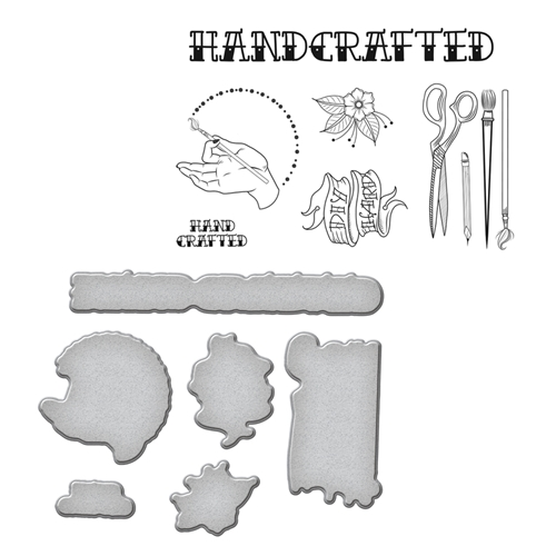 SDS-071 Spellbinders HANDCRAFTED by Stephanie Low Cling Stamp and Die Set* Preview Image