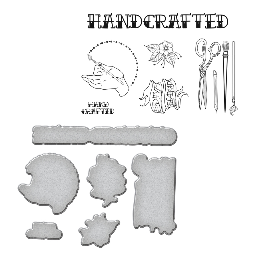SDS-071 Spellbinders HANDCRAFTED by Stephanie Low Cling Stamp and Die Set* zoom image