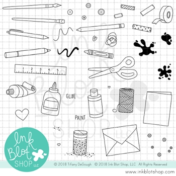 Ink Blot Shop Clear Stamp Set ARTS AND CRAFTS ICONS inbl031