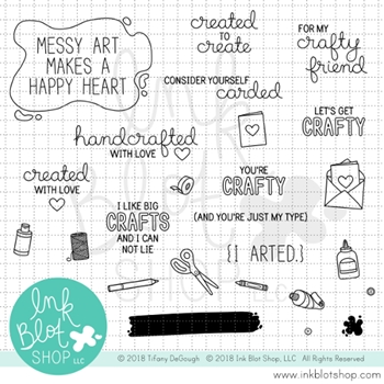 Ink Blot Shop Clear Stamp Set ARTS AND CRAFTS SENTIMENTS inbl032