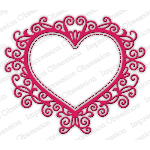 Impression Obsession Steel Dies FLOURISH HEART DIE635-Z* Preview Image