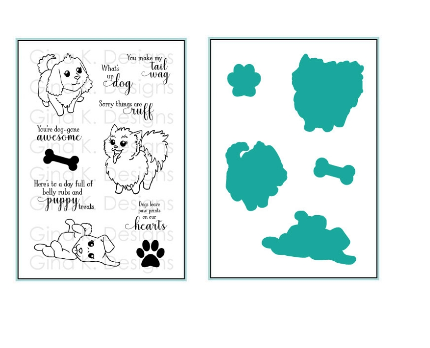 Gina K Designs PLAYFUL PUPS Clear Stamps and Coordinating Dies 5522 zoom image
