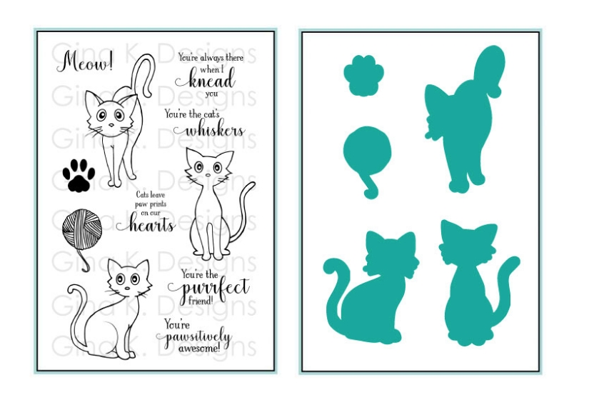 Gina K Designs FRISKY FELINES Clear Stamps and Coordinating Dies 5515 zoom image