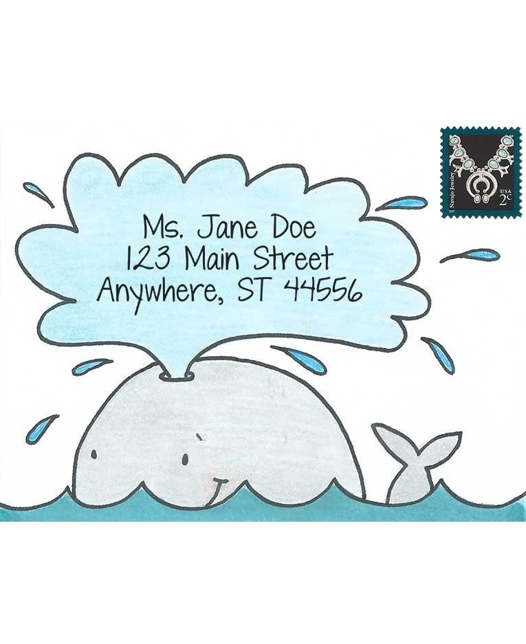 Inky Antics WONDERFUL WHALE Cling Stamp Set Mail Pals icl3-106 zoom image
