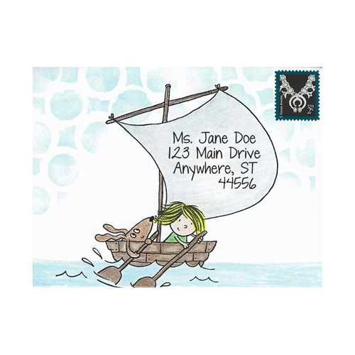 Inky Antics BOAT GIRL & PUP Cling Stamp Set Mail Pals icl3-101* Preview Image