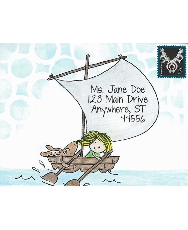 Inky Antics BOAT GIRL & PUP Cling Stamp Set Mail Pals icl3-101* zoom image