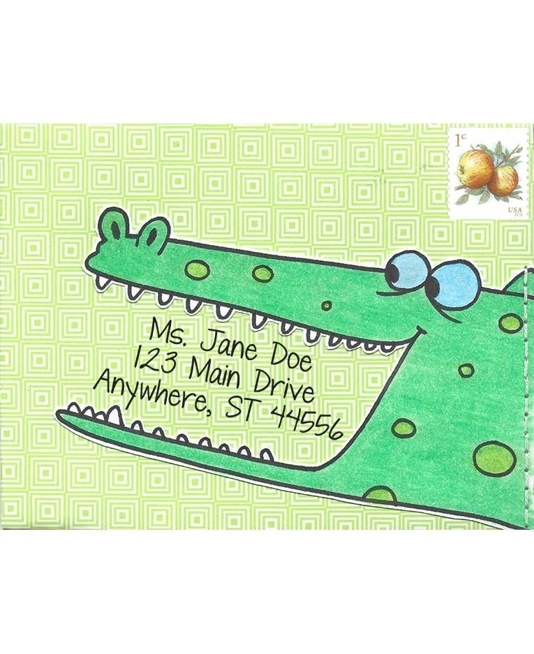 Inky Antics AMUSED ALLIGATOR Cling Stamp Set Mail Pals icl3-100 zoom image
