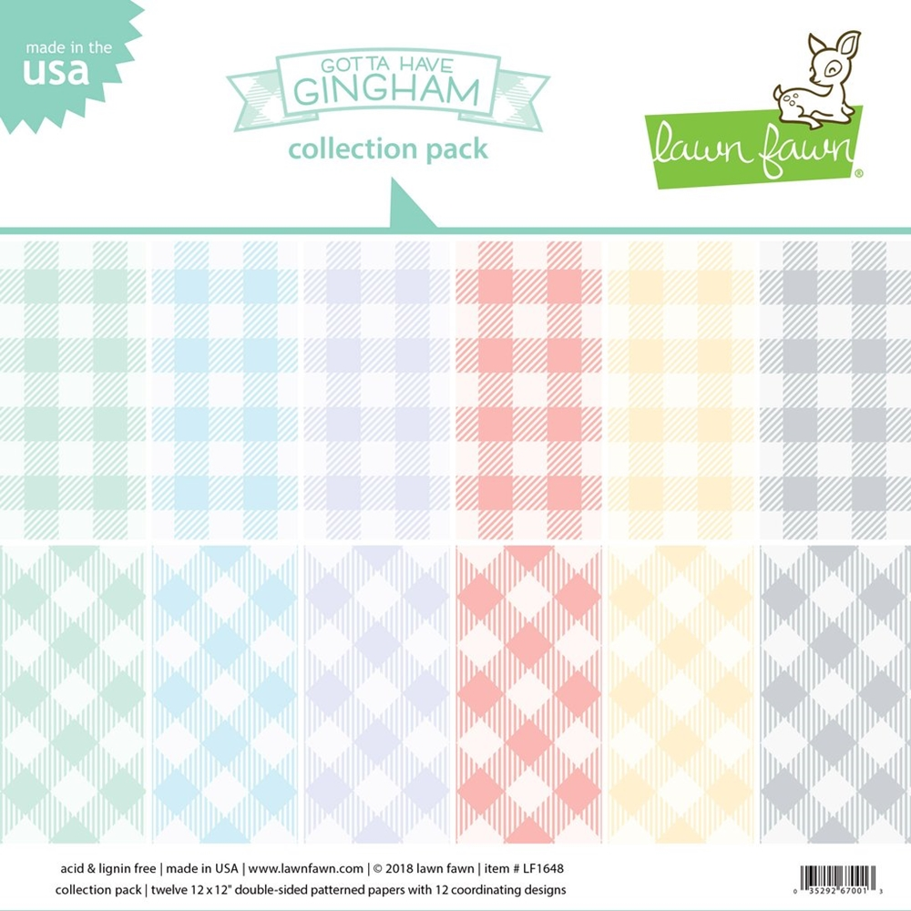 Lawn Fawn GOTTA HAVE GINGHAM 12x12 Inch Collection Pack LF1648 zoom image