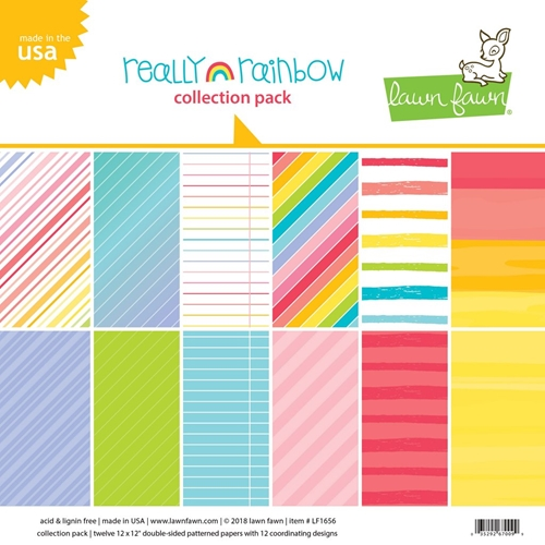 Lawn Fawn REALLY RAINBOW 12x12 Inch Collection Paper Pack LF1657 Preview Image