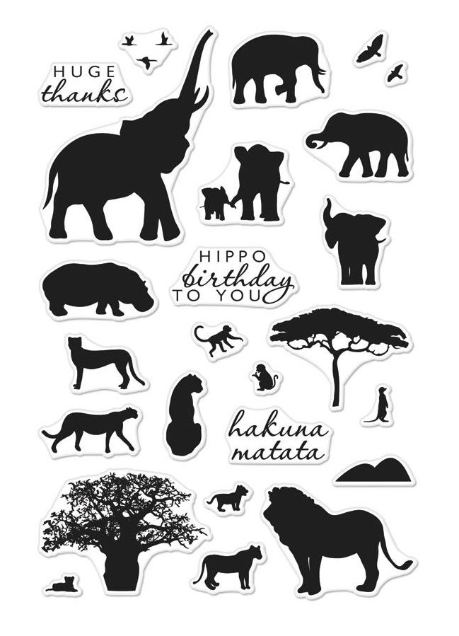 Hero Arts Clear Stamps SAFARI HUGE THANKS CM217 zoom image