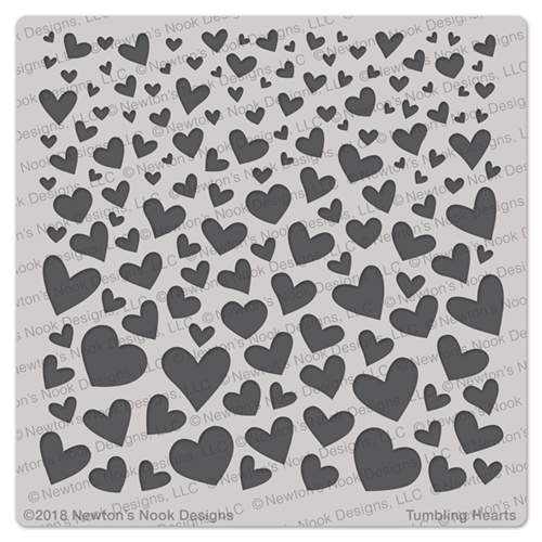 Newton's Nook Designs TUMBLING HEARTS Stencil NN1801T01 Preview Image
