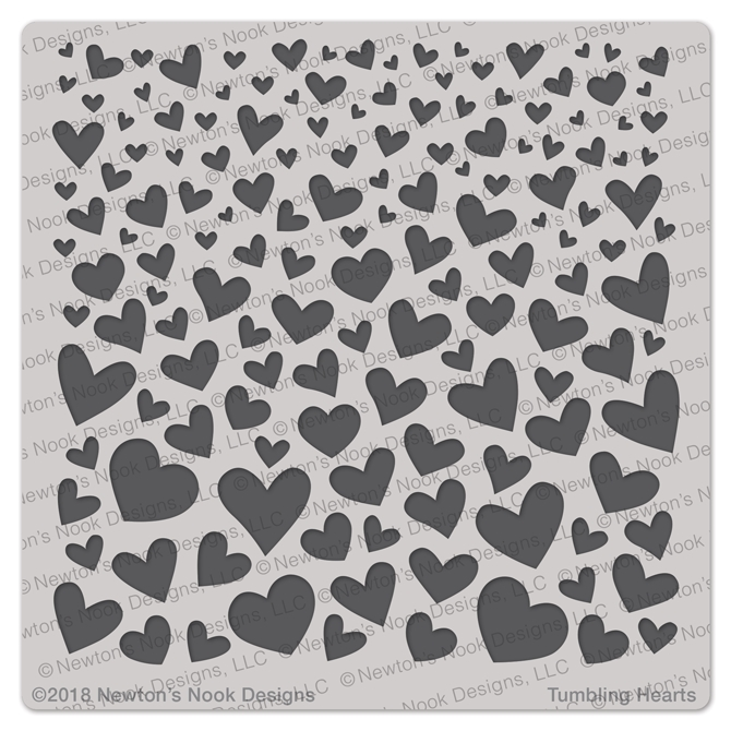 Newton's Nook Designs TUMBLING HEARTS Stencil NN1801T01 zoom image