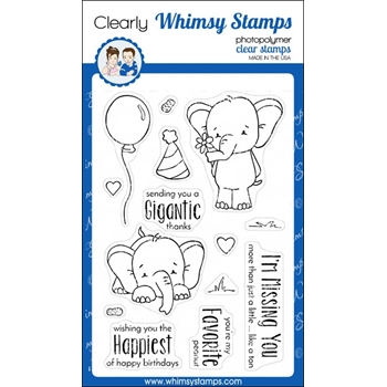 Whimsy Stamps SKETCHED ELEPHANTS Clear Stamps cwsn156