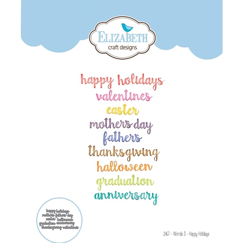Elizabeth Craft Designs WORDS 3 HAPPY HOLIDAYS Craft Die 1467 Preview Image