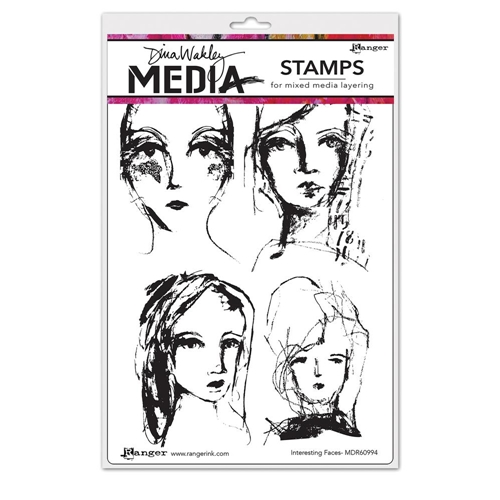 Dina Wakley INTERESTING FACES Media Cling Rubber Stamp MDR60994 Preview Image