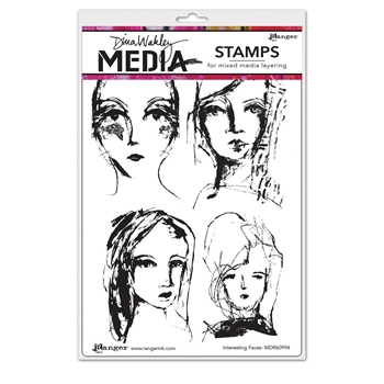 Dina Wakley INTERESTING FACES Media Cling Rubber Stamp MDR60994