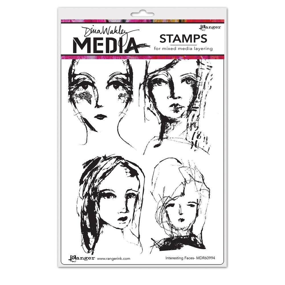 Dina Wakley INTERESTING FACES Media Cling Rubber Stamp MDR60994 zoom image