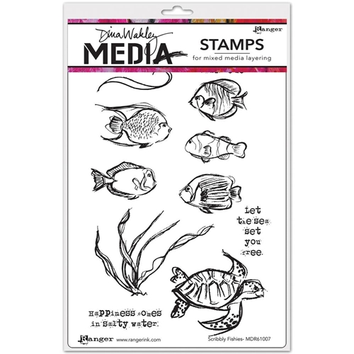Dina Wakley SCRIBBLY FISHIES Media Cling Rubber Stamp MDR61007 Preview Image